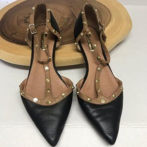 Halogen Gold Studded Leather Pointed Toe Flats